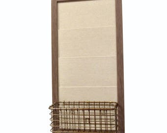 Mail Organizer / Memo Board with hooks and basket