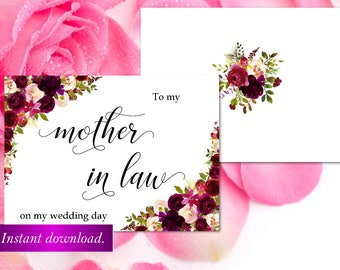 To my Mother in law on my wedding card,marsala Wedding day cards,Mother of the bride card,mother of the Bride gift card,Wedding card,42