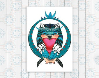 Valentine's Owl art print, Instant Download, Printable art, owl in love, wall decor, Mother's day drawing, cute owls, red heart, zentangle