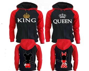 King Queen Hoodie, Couple Hoodies King And Queen, Disney Couple Hoodies, Pärchen Pullover Couple Hoodies Mickey, Couple Sweatshirt