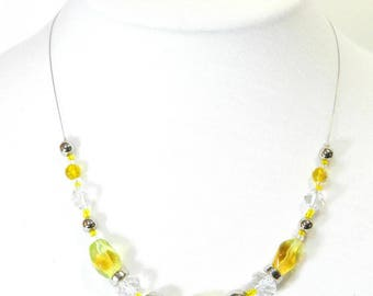"""""""Buttercup"""" designer necklace, OOAK, swaroski Crystal and metal beads on nylon coated steel wire"""