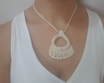 SALE Cotton necklace beige white necklace Gift for her, for her, Necklace for women, Gift under 50, FREE SHIPPING, gift for best friend.