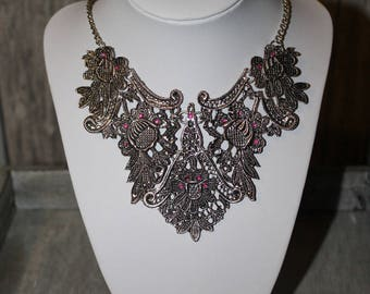 Silver Cleopatra necklace Tibetan and rhinestones