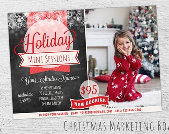 Christmas Mini Session Template, Photoshop Template, Christmas Marketing Board, Photography Marketing, Christmas Marketing, Chalkboard