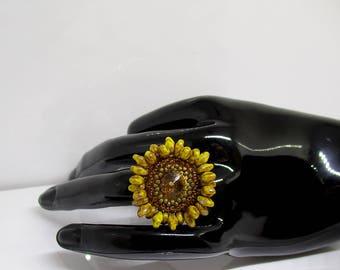 Sunflower Swarovski Crystal ring.