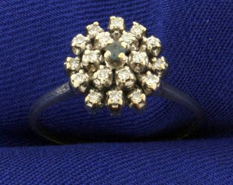 Vintage Alexandrite and Diamond 14k White Gold Ring