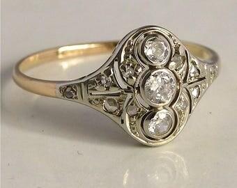 14 k Gold Diamond Princess ring
