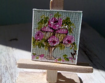 Dollhouse Miniatures, Dollhouse Accessory, Cute shabby chic original oil painting,original oil painting,FREE SHIPPING