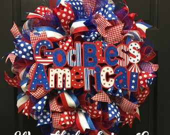 Patriotic wreath, god bless america wreath, summer wreath, front door wreath, red white and blue wreath, 4th of july wreath