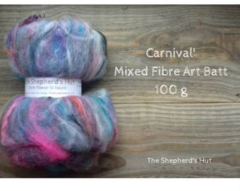 Mixed Wool Art Batt 'Carnival' 100 g  3.5 oz