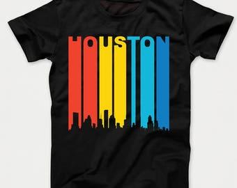 Retro 1970's Style Houston Texas Cityscape Downtown Skyline Kids T-Shirt