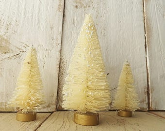 "Natural Sisal Bottle Brush Tree Set of Three ~ Christmas Crafts ~ 4"" & 3"" ~ Fairy Garden / Putz House ~ Doll House ~ Cream/White"