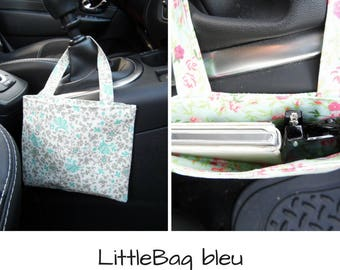 "Blue ""LittleBag"" for car, by Lola: phone case and glasses pocket"