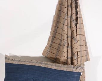 Tona 14'' X 36'' - Beige and Blue Striped Vintage African Cloth Aso-Oke Pillow, High Quality Italian Linen Back Fabric, Mud Cloth Style