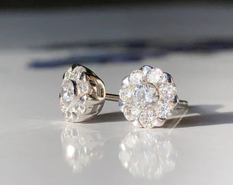 Diamond Studs, Diamond earrings, Diamond white gold ear studs, 18k white gold G Colour SI Clarity available in different sizes