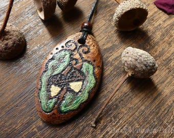 Amulet made of wood ~ oak magic ~ necklace acorns
