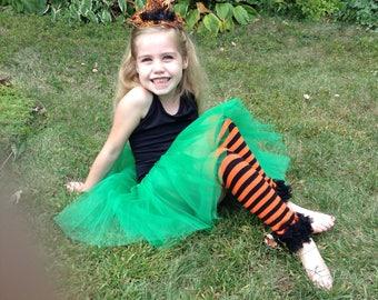 Child SZ Set Legs n Headband, Fun Sweet n Spooky Witch Headband and Legwarmer set for Halloween, Wicked Witch Hat Headband