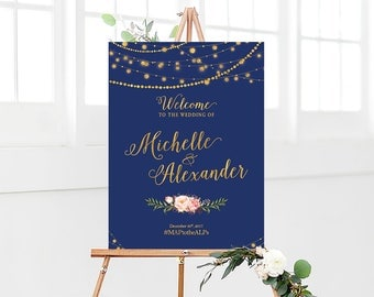 Wedding sign, Wedding Welcome Sign, Navy blue Wedding sign, watercolor sign, Wedding Decor, wedding decorations, Bohemian wedding sign