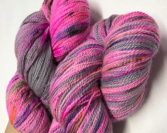 100g Extra fine merino / silk lace weight yarn, 80/20% 600 metres, hand dyed in Scotland, pink, grey, speckled, grungey princess