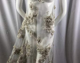 Lace Fabric - Ivory 3D Flower Beaded Embroidery Diamonds Mesh Dress Floral Wedding Decoration Bridal Veil - By The Yard