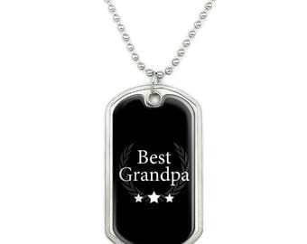 Best Grandpa Award Military Dog Tag Pendant Necklace with Chain