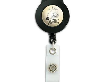 I Love My Poodle Lanyard Retractable Reel Badge ID Card Holder