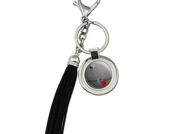 African grey parrot bird pet chrome plated metal round leather tassel keychain