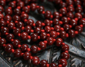Rosewood Knotted Mala 108+1 Beads - Handmade knotted rosewood Mala necklace- yoga meditation prayer beads - 10MM Rosewood Mala