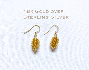Gold over Sterling Silver Pine cone earrings, Silver Pinecone earrings, Bridesmaid jewelry, Tiny Pine cone earrings