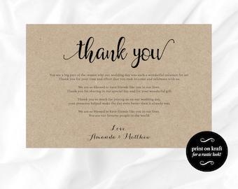 Wedding thank you sign -Table Thank You Sign - Table card - Table thank you card - Wedding Printable -  Downloadable wedding #WDH812294