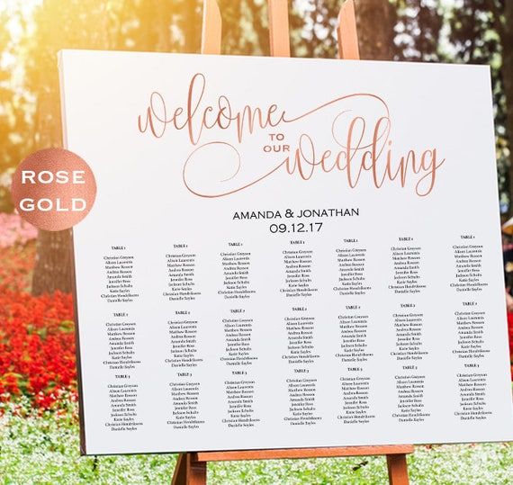 Rose Gold Welcome Wedding Seating Chart Sign Template
