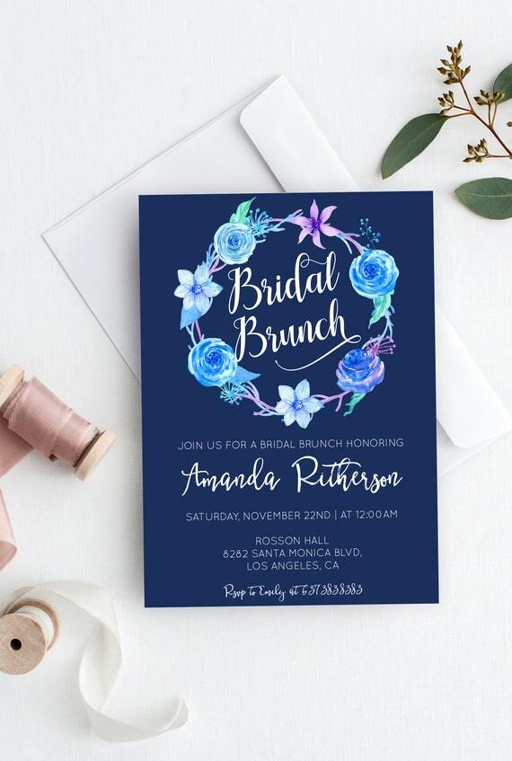 Bridal Brunch Wedding Invitation - Blue Floral Wedding Invites - Printable Wedding Invitation Template - Downloadable wedding #WDHSN8187