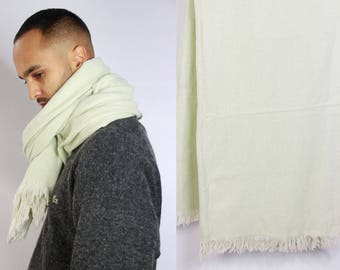 White Wool Scarf Oversize / Oversized Scarf / Large Winter Scarf / Blanket Scarf / Winter Scarf / Hand Knit Scarf / Blanket Scarf  Big Scarf