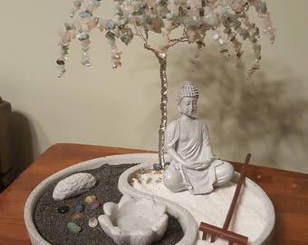 Customised Yin Yang Zen Garden/ Wire Wrapped Tree/Silver Wire Tree/Mediation Garden/Chakra Stones/ Tree-of-life/ Zen Rock Garden