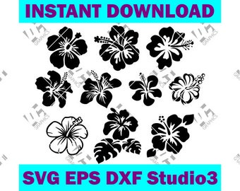 Hawaiian Hibiscus Flower Collection - Cutting File in SVG, EPS, DXF, Studio3 - Cricut Silhouette Cameo Studio Make The Cut Instant Download