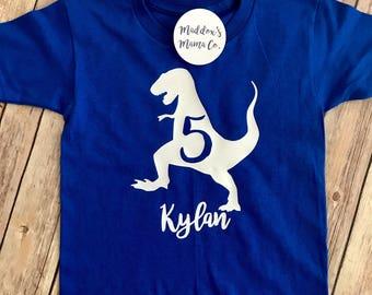 Child's Personalized Dinosaur Birthday Shirt with Name