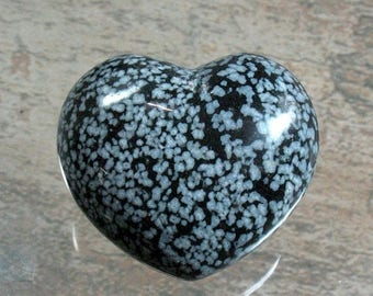 25% OFF Snowflake Obsidian Puffed Heart 46 mm - Item 76395