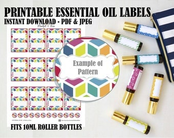 Printable Essential Oil Labels - 10ml Rollerball Rainbow Pattern
