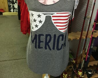 Merica Women's Tank Top size Small thru Extra Large