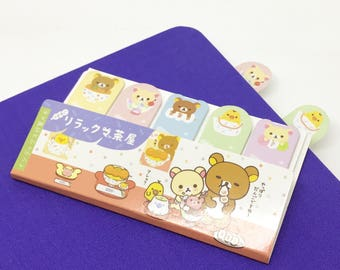 Rilakkuma and Friends Kawaii Bear Page Flags // Japanese Teddy Bear and Friends Post-it notes //  Children's Kawaii sticky note bookmarks
