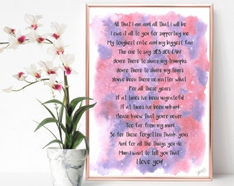 Supporting Me Rhyming Poem A4 Poster Print