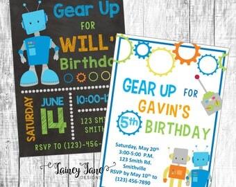 Robot Party Invitation, Robot Birthday Invitation, Customized Robot Invitation, Customized Invitation, Robot Birthday Party Invitation