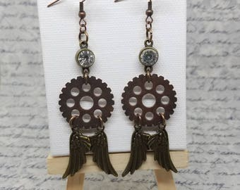 Earrings- steampunk jewelry - gears - wings - tik tok -rhinestone