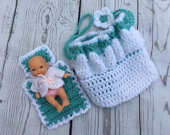 Crochet Tiny baby purse/Bassinet purse/Church purse/Cradle purse with baby