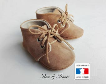 Baby brown leather and beige wool (baby shoes)