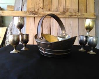 Brass basket. Vintage brass basket/Brass cups/Brass shot glasses. Home decor. Home and living. Brass barware. 7 lot. TwoCsVintage.