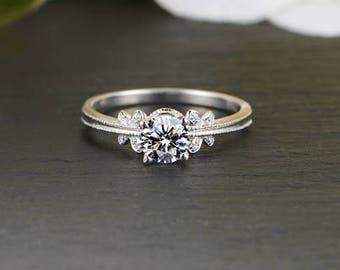 Butterfly design Moissanite Engagement Ring, Diamond alternative
