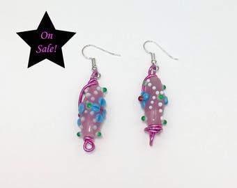 Glass Bead Earrings, Large Earrings, Bobble Earrings, Clearance Sale, On Sale Earrings, Quirky Earrings, Glass Bobble Earrings