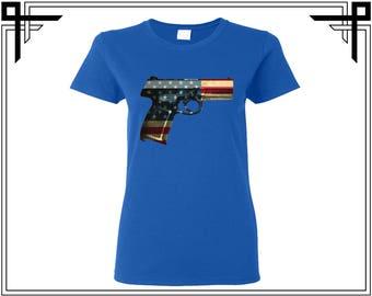 Gun Shirt American Colors American Flag Shirt Tshirt America 4th Of July Gift For Her Womens Top Womens Shirt Womens Tshirt Tee Top