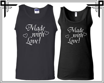 Made With Love Tank Top Made with Love Couple Tank Top Tanks Couple Tops Love Top Gift For Couples Anniversary and Valentines Gift